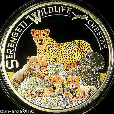 2013 CHEETAH Serengeti Wildlife TANZANIA Sterling Silver African Coin  ONLY 1250