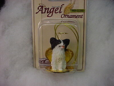PAPILLON dog ANGEL Ornament HANDPAINTED resin B&W FIGURINE Christmas black white