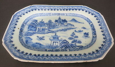 """Antique Chinese Canton Export 10"""" X 6.75"""" Blue & White  Plate Dish Platter"""