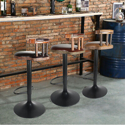 Pair Rustic Industrial Vintage Retro Breakfast Bar Stool Kitchen Counter Chairs