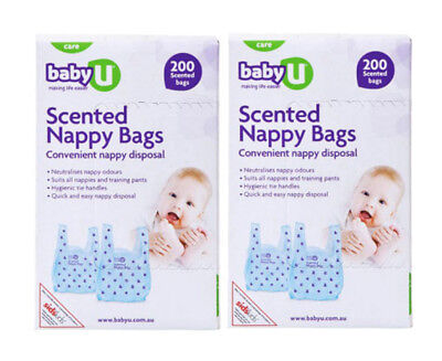 2 x Baby U Scented Nappy Bags 200-Pack