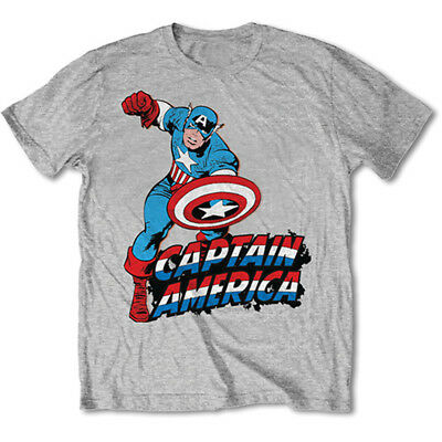 Official T Shirt Marvel CAPTAIN AMERICA Grey Classic 'Comic' All Sizes