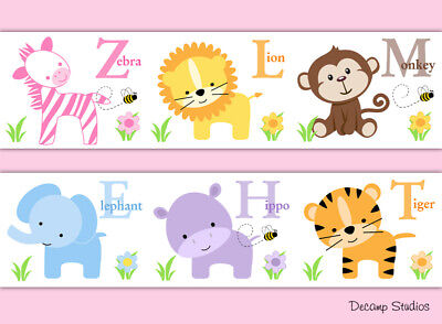 Safari Girl Nursery Animal Alphabet Wallpaper Border Decals Wall Art Stickers