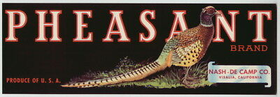 PHEASANT Vintage Visalia California Fruit Crate Label Bird, *AN ORIGINAL LABEL*