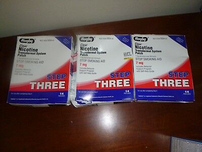 (3) Rugby Nicotine Transdermal System Step Three 7 mg Patches 14 Each  Exp 2020