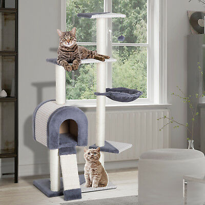 "50"" Cat Tree Multi-Level Condo Furniture Sisal Scratching Post w/ Toy"