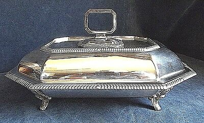 """SUPERB Large & Heavy 12"""" ~ SILVER Plated ~ SERVING DISH ~ c1900"""