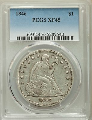 1846 US Seated Liberty Silver Dollar $1 - PCGS XF45