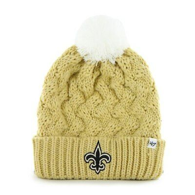 4dff23e41c1 New Orleans Saints  47 Brand Womens Fiona Cuff With Pom Knit Beanie - Gold