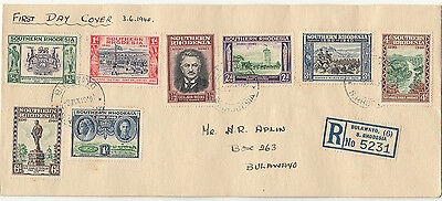 Stamps Southern Rhodesia 1940 definitive set of 8 on FDC sent registered locally