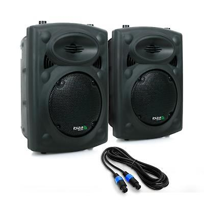 PACK SONO DJ PA PAIRE ENCEINTES ACTIVES PRO 2 x 20cm 600W USB SD MP3 MICRO ABS