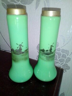 Matching Pair Of Dutch Green Milk Glass Vases With Epns Collars