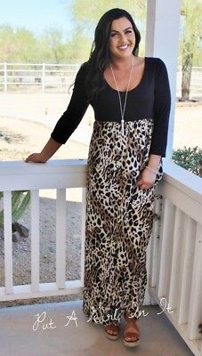 Plus Size Black Leopard Animal Print 3/4 Sleeve Long Maxi Dress 1X 2X Usa