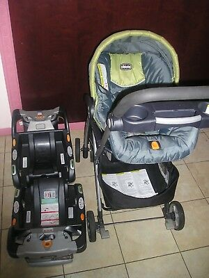 Chicco Keyfit Caddy Lightweight Aluminum Infant Car Seat Carrier Stroller 2 Base