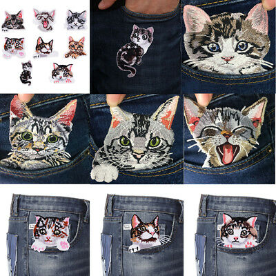 8pcs Cats Embroidery Sew on Iron on Patches Badge Clothes Fabric Appliques