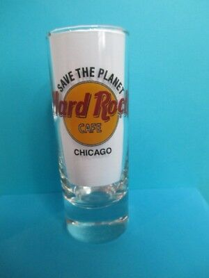 Hard Rock Cafe Chicago Shot Glass 4'' Tall Save The Planet Black Letters New