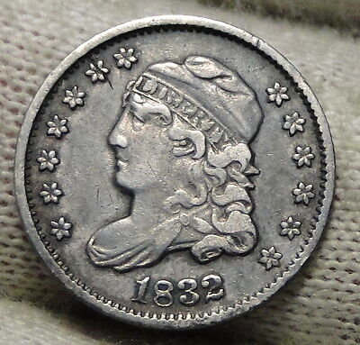 1832 Capped Bust Half Dime H10C 5 Cents - Nice Old Coin, Free Shipping  (5559)