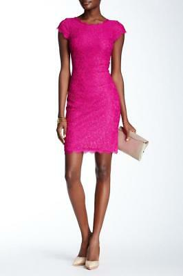 26ef2e6e03d6 Diane Von Furstenberg DVF $368 Pink Lace Rear Zip Cap Sleeve Barbara Dress  12