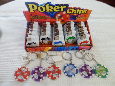 Novelty Gag Gifts Lucky Charm Poker Chip Keychains Winlite Lighter Lot of 3 New