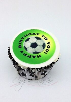 12 x Soccer Themed Edible Image Cupcake Toppers Icing Images Soccor Ball Cake