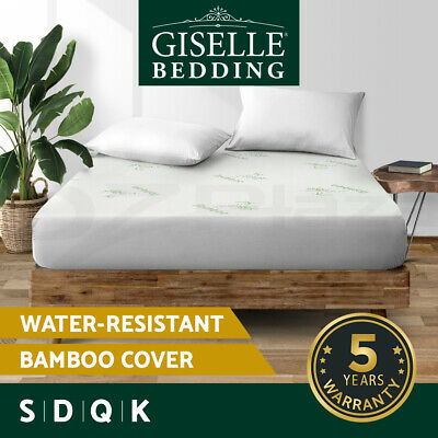 Giselle Waterproof Mattress Protector Queen Bamboo Fiber Fully Fitted All Size