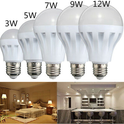 3W 5W 9W E27 Energy Saving LED Bulbs Light Lamp Pure/ Warm White DC 12V Home