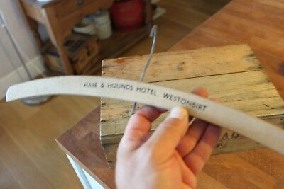 Vintage Wooden Advertising Coat Hanger – Hare & Hounds Hotel Westonbirt – Great!
