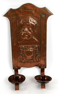Arts and Crafts Glasgow School Copper Candle Sconce Guild Gilmour Portrait