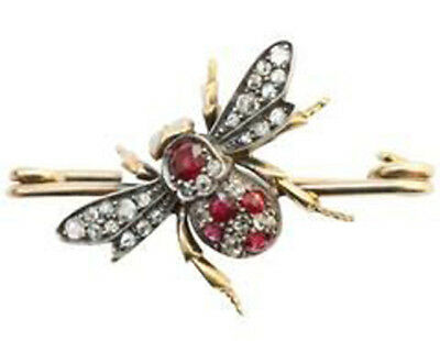 3.10cts ROSE CUT DIAMOND RUBY ANTIQUE VICTORIAN LOOK 925 SILVER BROOCH PIN
