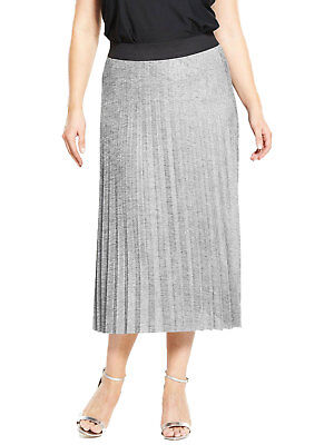 V By Very Curve Silver Metallic Pleat Skirt