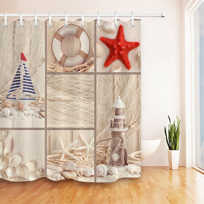 Nautical Beach Seashell Starfish Lighthouse Shower Curtain Bathroom Fabric 60x72