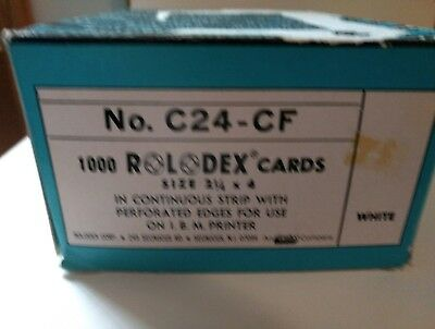 """ROLODEX Cards C24-CF White Continuous Strip 2 1/4"""" x 4"""" In Box Almost Full"""