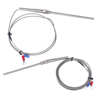 2x 100mm Spade K-Type Temperature Controller Thermocouple Sensor Probe 1m+2m