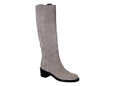 04dc399941fb Gucci medium heels knee high boots in mud Suede leather Size US 6 - IT 36
