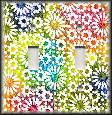 Metal Light Switch Plate Cover Bright Rainbow Of Colors Floral Design Home Decor