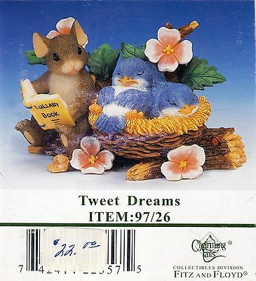 "Charming Tails ""Tweet Dreams"" Friends Bird and Mouse by Fitz and Floyd Ltd. Ed."