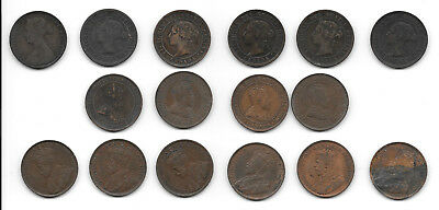 15 Canadian Large Cents plus one Maritimes Cent 16 total CC13