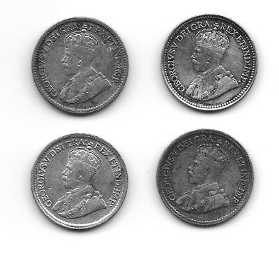 4 Different Canadian Silver 5 Cents CS4