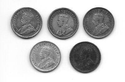 5 Different Canadian Silver 5 Cents CS5