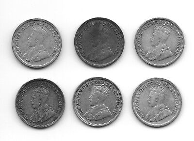 6 Different Canadian Silver 5 Cents CS7