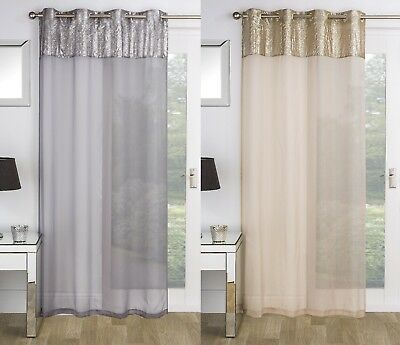 Luxury Sparkle Sequins Eyelet Top Window Door Single Voile Curtain Screen Panel