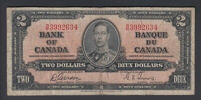 1937 $2 Dollars - Gordon Towers - Prefix W/B - Bank of Canada - F337