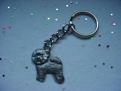 BICHON FRISE puppy PEWTER Silver DOG KEYCHAIN CHRISTMAS ORNAMENT Key Chain Ring
