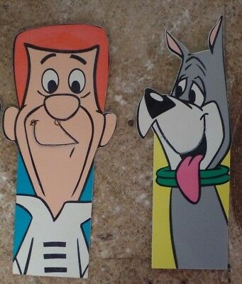 "Hanna-Barbera The Jetsons 5.5"" George and Astro Plastic Bookmarks NEW from 1990"