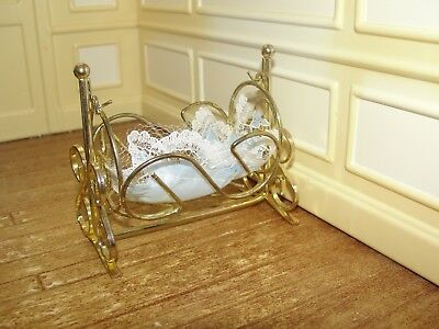 Dollhouse Miniature Gold Metal Cradle