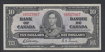 1937 $10 Dollars - Gordon Towers - Prefix U/D - Bank of Canada - F343
