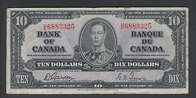 1937 $10 Dollars - Gordon Towers - Prefix U/D - Bank of Canada - F344