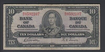 1937 $10 Dollars - Gordon Towers - Prefix W/D - Bank of Canada - F345