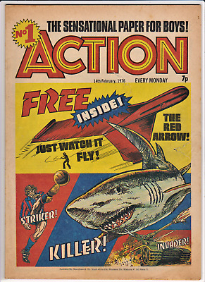 ACTION # 1 14th February 1976 comic pre-ban issue 7 penny nightmare IPC no.one