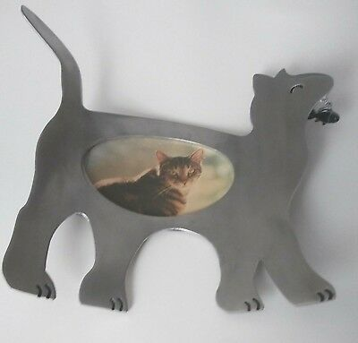 """Connoisseur Aluminum Cat Picture Frame 11"""" Collectible Animal Frame"""